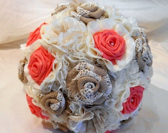 Wedding Bouquet, Bridal Bouquet, Keepsake Bouquet, Fabric Bouquet, Rustic Bouquet, Shabby Chic, Burlap and Lace, Coral