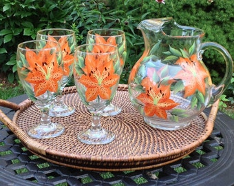 Tigerlilies Hand-Painted 5-piece Hostess Set