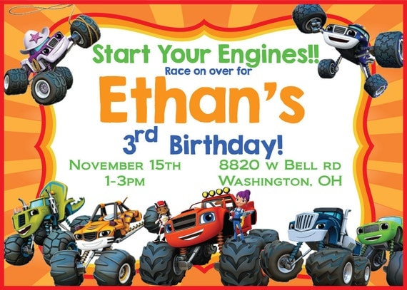 Items similar to Blaze and the Monster Machines birthday Invitation on Etsy