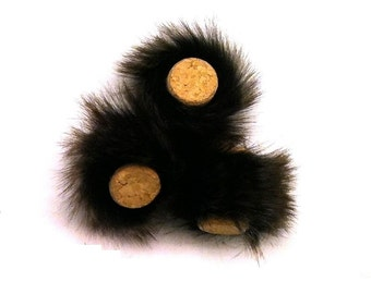 Bunny Cork Cat Toy Faux Fur Bat Around Pom Pom. Made in the USA By Tiger Teasers.