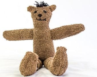 Handmade Terry Cloth Bear, OOAK Soft Toy, Bear Softie, Bear Plushie, Brown Bear Toy,Soft Toy