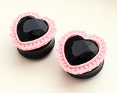 "PAIR Baby Pink Ornate Setting & Black Gem Heart  Ear Plugs / Gauges - 22mm  24mm (15/16"") , 25mm (1"") ,  26mm, 28mm (1 1/16""), 30mm"