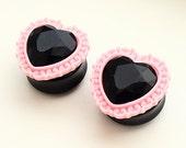 "PAIR Baby Pink Ornate Setting & Black Gem Heart  Ear Plugs / Gauges - 22mm  24mm (15/16"") , 25mm (1"") ,  26mm, 28mm (1 1/16""), 30mm"