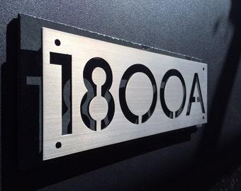 Custom steel and natural slate house numbers