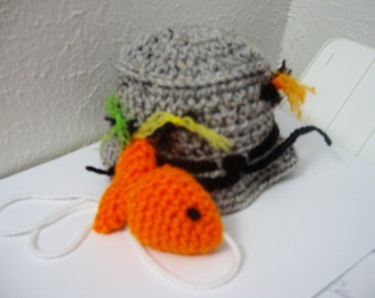 baby boy hat, fisherman/angler hat with little orange fish photo prop- infant Color Choice