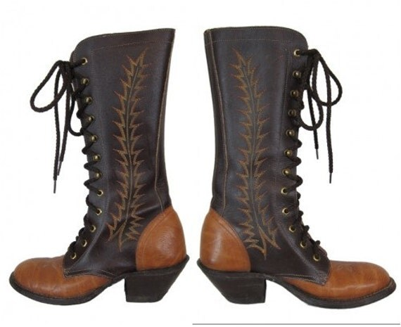1970s granny roper boots womens tony lama size 6 leather lace up