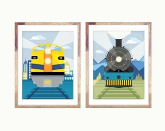"Two Train Prints 12x16 or 11x14"" Diesel, Steam Engine"