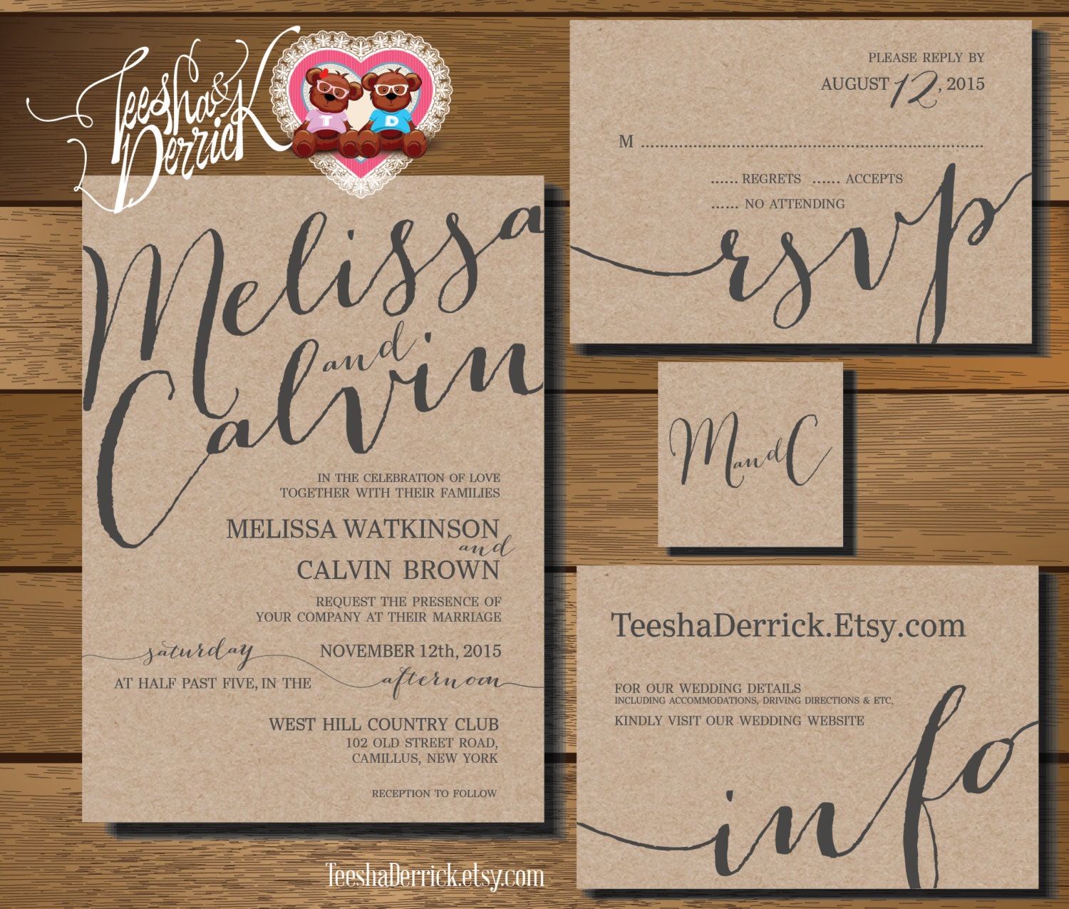 Printable Wedding Invitation Suite W0227 Consists By