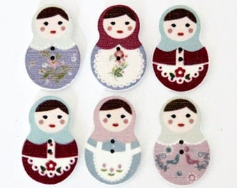 10 Russian Doll Buttons - Painted Wood Buttons - 30mm x 19mm - Babushka Dolls - Matryoshka Doll - Wooden Doll - Doll Shape Button - PW91