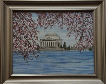 DC Cherry Blossoms - An original, framed watercolor painting