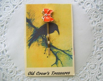 Upcycled Jewelry Hair Pin - (88) - Orange Butterfly Bobby Pin