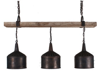 funnel lamp 3 Funnel Chandelier with Barnwood Beam and Iron Brackets funnel lamp Rustic Chandelier Lighting, Chandelier Handmade