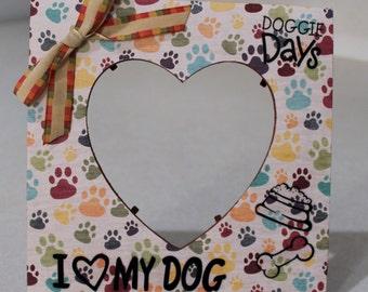 Dog/ Dog Frame/I heart my dog/ Paws /Pet/ Picture frame