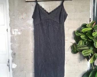 70s Black Vintage Negligee Slip
