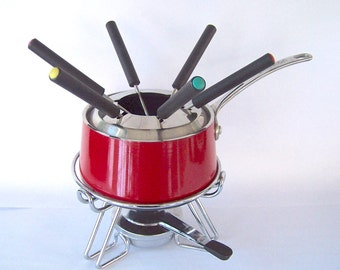Fondue w/6 Forks, Book, Circulon Nonstick, Red Fondue Set, Chocolate Fondue, Cheese Fondue