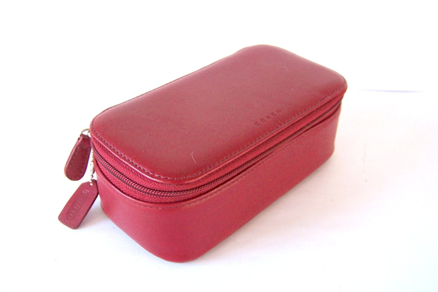 vintage coach red leather travel case jewelry by