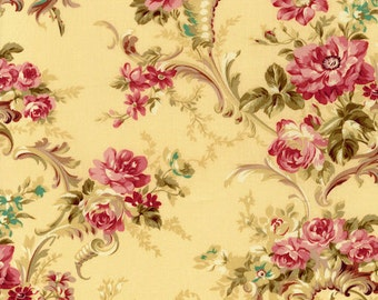 RJR Fabrics Robyn Pandolph Rose Hill Lane 1861 03 Floral on Yellow Yardage