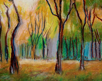 Original oil pastel drawing painting fauvism trees green red yellow impressionism