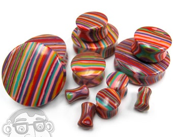 Candy Stripe Stone Plugs - Double Flare (6G - 32mm) Sold In Pairs - New!