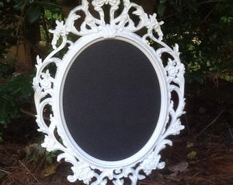 Large White Oval Ornate Baroque Chalkboard Frame / Framed Chalk Board