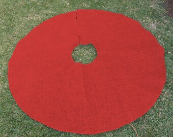 "60"" Red Burlap Christmas Tree Skirt"