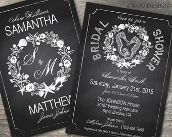 Beach Themed Seahorse and Seashells Chalkboard Bridal Shower, Wedding Invitation Card, or RSVP Card- Printable File