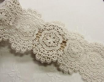 1 yard Antique style Cotton Crochet Lace Trim 9.5 cm Wide #370