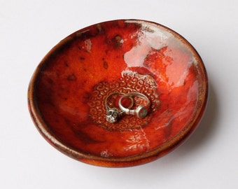 Ring Dish, red color, Beautiful round stamp, Home Decor,round, Ring Holder, clay, wedding gift, Wedding Ring Dish, ring bowl