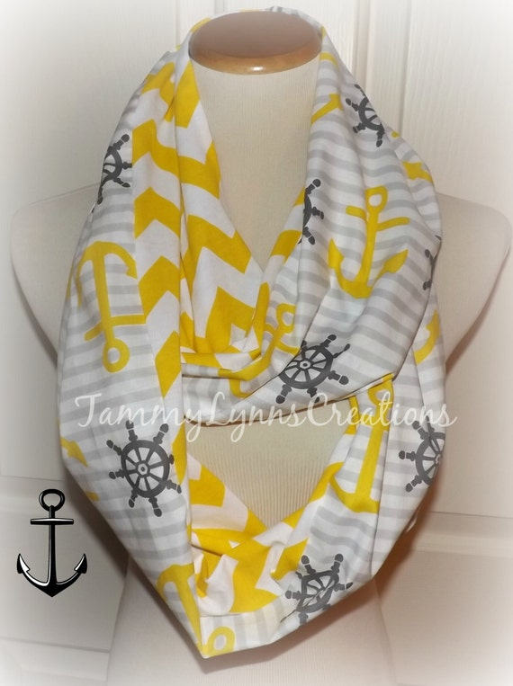 Yellow And Gray Nautical Anchors Scarf Buttercup Yellow