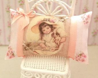 dollhouse  shabby chic miniatures pillow