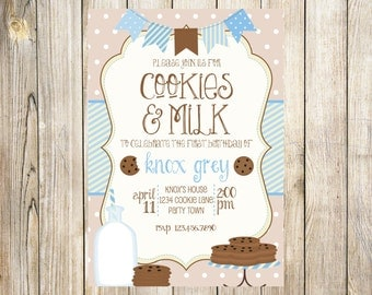 Cookies and Milk Birthday Party Invitation