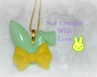 Bunny Ears Necklace, Rabbit Ears Necklace, Easter Bunny, Easter Necklace, Easter Jewelry, Bunny Jewelry, Rabbit Jewelry