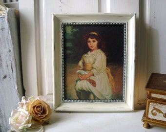 Art Painting Print on Canvas, Girl and Rabbit by Felix, Distressed Cream Frame, Nursery Decor, Oil Painting, Gift Ideas, Vintage
