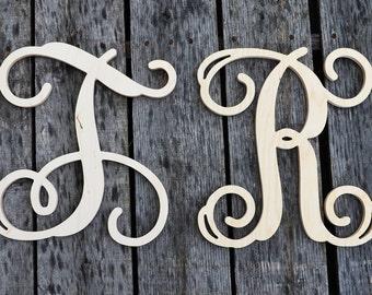 "SALE Two 12"" Unpainted Wooden Letters  - Vine Script Initial - Monogram Wall Hanging - Monogram Door Hanger - For The Price Of One"