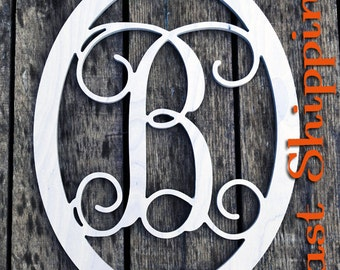 Monogram Door Hanger - Unpainted Vine Script Letter- Initial Door Hanger- Wooden Monogram- Home Decor- Initial with Border