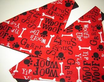 Dog Talk on Red Dog Scarf Over the Collar Dog Bandana