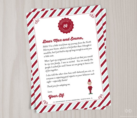 Personalized Elf Welcome Letter