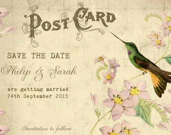 Printable save the date, vintage Save the Date,hummingbird save the date, postcard save the date, printable save the date, personalised