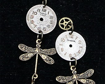 Earrings watch dial and dragonflies of bronze