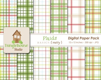Christmas Plaids Digital Papers | Merry Christmas Paper Pack | Instant Download | Digital Scrapbooking | Red and Green Paper Set