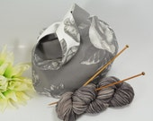 Knitting project bag - Crochet project bag - wristlet pouch - Japanese Knot Bag/Purse – Small -Cotton – Gift – Present - Flowers