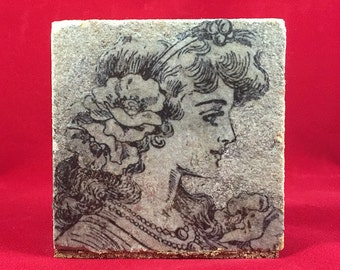 Paper Weight Table Topper for Wedding Table Cloth Art Nouveau Girl Paper Weight Repurposed Granite Vintage Looking