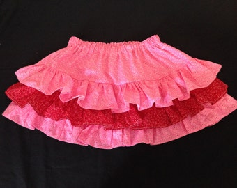 SALE  Little girl pink and red ruffle skirt Size 3T-5T -- Ready to ship