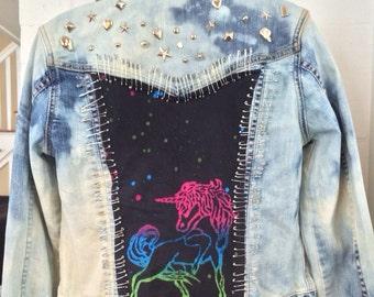 Studded Unicorn Jean Jacket Size Meduim