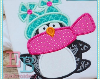Winter Penguin Applique - This design is to be used on an embroidery machine. Instant Download