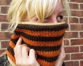 Hand knitted, fleece lined snood.
