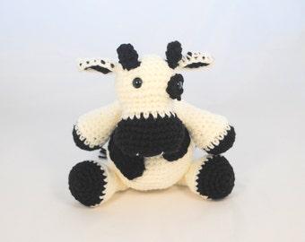 Black and White Crochet Stuffed Cow, Plush Crochet Cow, Stuffed Crochet Cow Toy, Crochet Toy, Cow Baby Gift