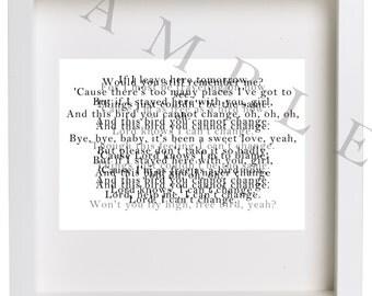 Jumbled Up Lyrics to Lynyrd Skynyrd Freebird Art Digital Download File- Prints Large