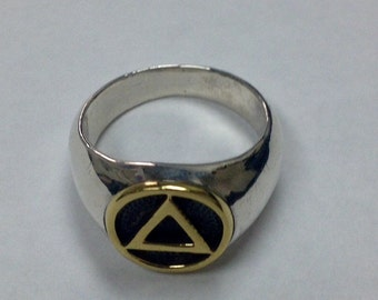 Sterling Silver Alcoholics Anonymous Circle/Triangle Logo Ring