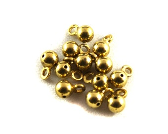12x Vintage Brass Ball Drop Charms / Findings w/ hole - M083